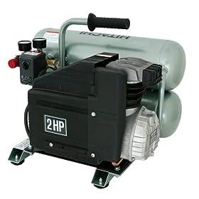 Hitachi EC12 14.5 amp 2-Horsepower 4-Gallon Oiled Twin Hot Dog Compressor