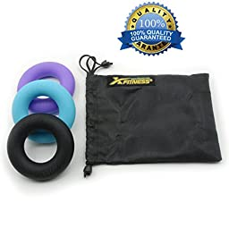 xFitness Silicone Ring Hand Grippers - The Best Hand & Forearm Exerciser Strengthener - Set of 3 with Carry Bag - Resistance Level of 60/70/80 lbs - Best Hand Grips on the Market - Quality Guaranteed
