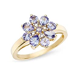 1 Carat Tanzanite and Diamond 14K Yellow Gold Ring