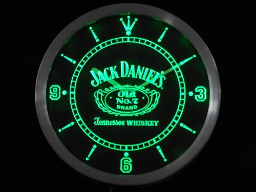 LED Neon Light Wall Clock JACK DANIELS GREEN BEER Bar Cafe Pub Restaurant - Free Shipping