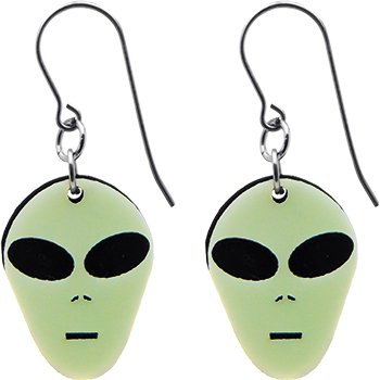 Handcrafted Alien Head Glow in the Dark Earrings