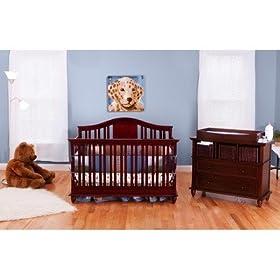 Addison Two Piece Convertible Crib Nursery Set In Cherry: Home U0026 Kitchen