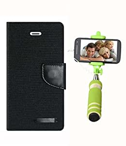 Aart Fancy Wallet Dairy Jeans Flip Case Cover for Samsung7562 (Black) + Mini Fashionable Selfie Stick Compatible for all Mobiles Phones By Aart Store