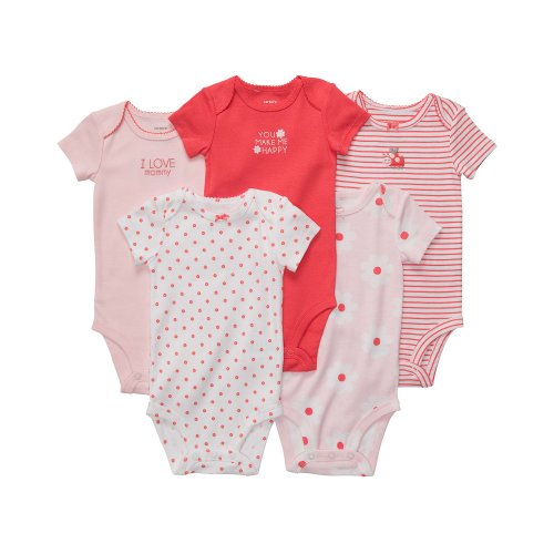Carter'S Baby Girls' 5-Pack S/S Bodysuits - Pink/Poppy - 24 Months front-423366