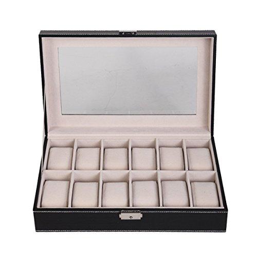 Feibrand Caja Para Relojes Piel Sintética 12 Compartimentos