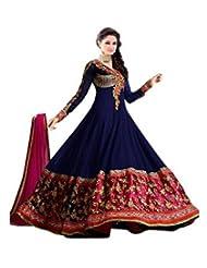FastColors Women's Georgette Long Anarkali Unstitched Salwar Suit Dress Material(sathya_blue_FO_Blue)