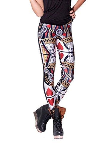 Women'S Fashion Digital Print Queen Of Hearts Pattern Sexy Leggings