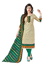 Taos Brand cotton dress materials for women womens dress materials cotton salwar suit New Arrival latest 2016 womens party wear Unstitched dress materials for women (1426 summer__cream and green_freesize