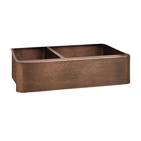Barclay FSCDB3552-AC On Left Side Perla 33 Double Bowl Copper Farmer Sink
