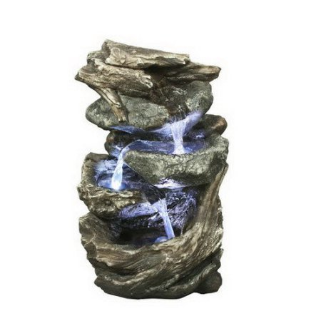 Relaxation Indoor Outdoor Water Fountain Cascade Resin Rock Stone New Backyard Tabletop Garden Waterfall
