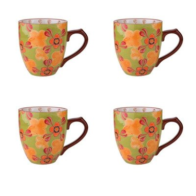 Dutch Wax 14 oz. Grace's Tea Ware Mug Set Green Yellow Floral 4 Piece Set (Set of 4)