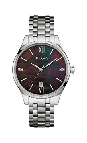 Bulova Diamond Women's Quartz Watch with Mother of Pearl Dial Analogue Display and Silver Stainless Steel Bracelet 96S162
