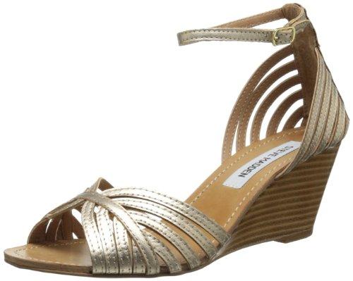 Steve Madden Women's Lexii Wedge Sandal,Gold Leather,8 M US