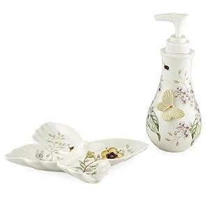 Lenox Butterfly Meadow Porcelain Soap Dispenser And Sponge Holder Bathroom