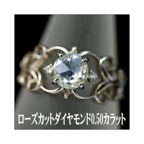ローズカットダイヤモンドリング プラチナ900 8.5