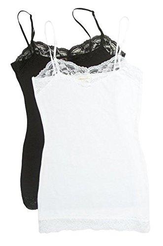 2 or 4 Pack Zenana Women's Lace Trim Tank Top,Medium,2pk Black & White
