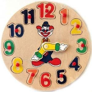 Wooden Learning Clown Clock Puzzle [Toy]