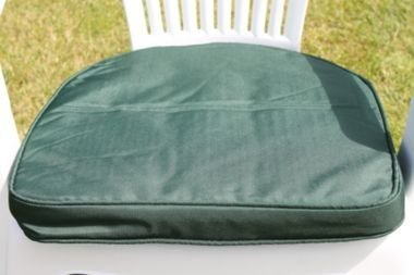 UK-Gardens Green Garden Furniture Chair Cushion Seat Pad Round Back - Ideal For Plastic Garden Chairs - Removable cover - Double Piped - Indoor or Outdoor Use