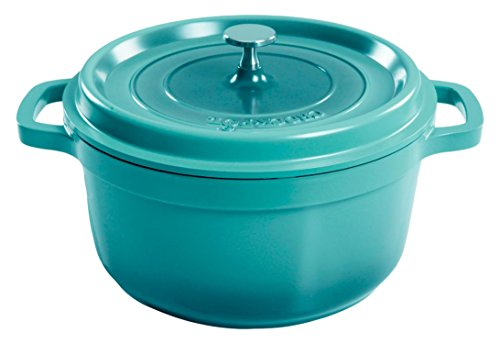 Crock Pot 79565.02 Edmound 5 Quart Cast Aluminum Dutch Oven with Lid, Gradient Teal