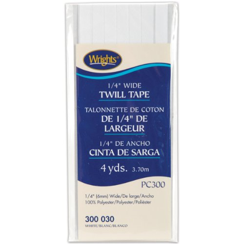 Wrights 117-300-030 Twill Tape, White, 4-Yard