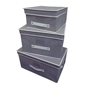 Grey Set of 3 Fabric Folding Room Tidy Toy Storage Box Chest Trunk w/ Lid and Handle