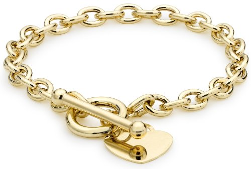 9ct Yellow Gold Heart Tag T-Bar Belcher Bracelet 19cm/7.5