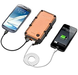 New Trent PowerPak Ultra 14000mAh Portable Dual USB Port External Battery Charger/Power Pack for Smartphones, Tablets and more. (Orange/Black)