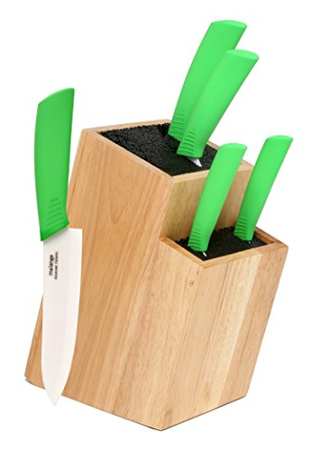 Melange 6-Piece Lime Handle and White Blade Ceramic Knife Set with 2-Tier Wood Universal Knife Block