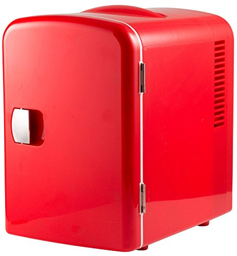 Portable 6 Can Mini Fridge Cooler and Warmer for Home ,Office, Car or Boat AC & DC (Red)