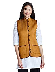 Jaypore Women's Art Silk Quilted Jacket (JPJAPJ000094413-M_Brown and Mustard)