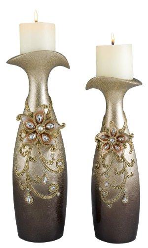 DDEH 14/16''h Sapphire Rose Decorative Candleholder Set