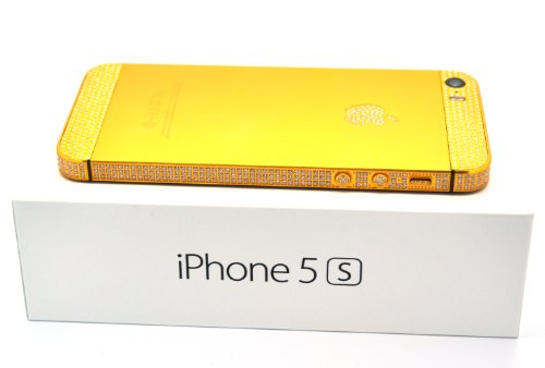 Apple Iphone 5s – 16gb 24k Gold Plated /Swarovski Crystals / Gold and Black/ Verizon – Factory Unlocked/ International