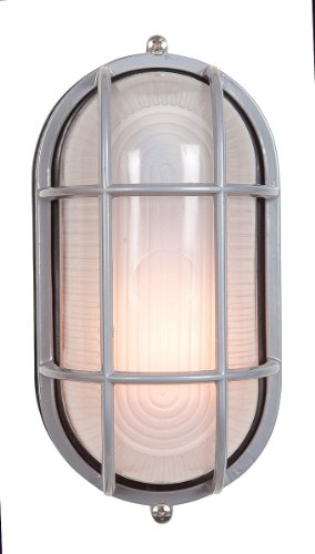 Access Lighting 20290-SAT/FST Nauticus 60W Wet Location ADA Oval Bulkhead, Satin Finish with Frosted Glass