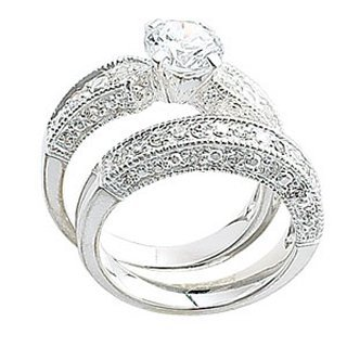 Sterling Silver CZ Solitaire and Eternity Ring Set - Solitaire ring: Band Width 3mm - Setting Width 5mm - Stone 7mm x 7mm - Eternity ring: Minimum Band Width 3mm - Setting Width 5mm