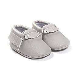 LIVEBOX Infant Baby Moccasins Soft Sole Anti-Slip Tassels Prewalker Toddler Shoes (3: 12~18 months, Light Grey)