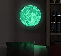 Marsway Creative 30cm Glow in the Dark Moon Night Luminous Stickers Removable Adhesive Wall Decal