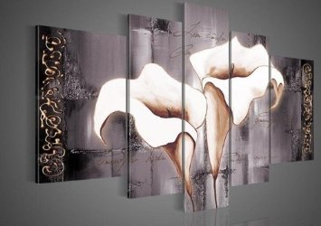 Santin Art - 100% Hand-painted Free Shipping Wood Framed Brown Lily Fashion Flower Home Decoration Abstract Landscape Oil Painting on Canvas 5pcs/set Mixorde