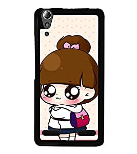 Fuson Premium 2D Back Case Cover Cute baby with bag With Black Background Degined For Lenovo A6000