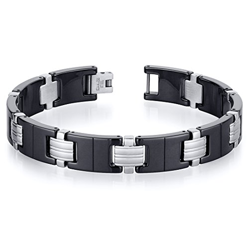 Classy Stainless Steel And Black Ceramic Mens Bracelet