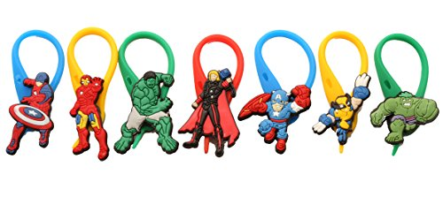 7 pcs Avengers Colorful Soft Zipper Pull Charms for Backpack Bag Pendant Jacket