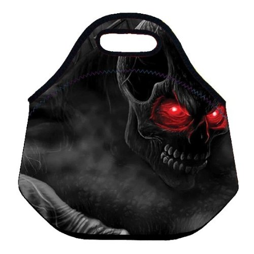 Black Skull Thermal Insulated Cooler Lunch Bags Kids School Lunch Box Tote Bag