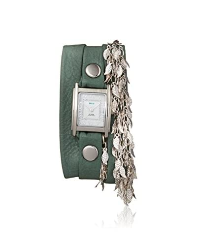 La Mer Collections Women's LMMULTI7601 Leaf Chain Sage Leather Watch