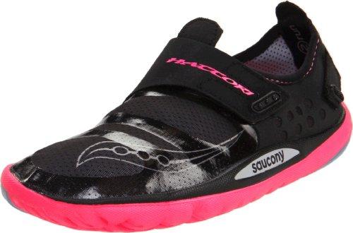 Saucony Women's Hattori Running Shoe,Black/Vizipro Pink,8 M US