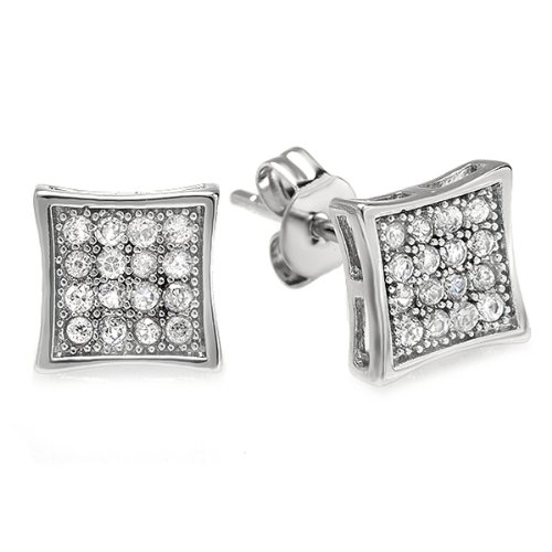 Platinum Plated Stud Earrings Kite Shaped White Round Cubic Zirconia Iced Pushback Post (7.5 MM x 7.5 MM)