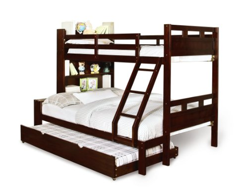 Furniture of america bronze bunk bed with bookcase and for Furniture of america pello full over full slatted bunk bed
