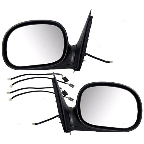 Driver and Passenger Power Side View Mirrors with Adapter Replacement for Ford Pickup Truck F85Z17683FAB F85Z17682FAA (2002 Ford F150 Driver Side Mirror compare prices)