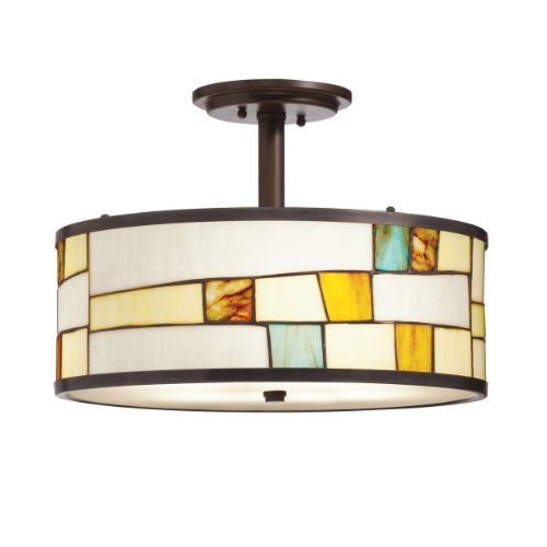 Kichler Lighting 65345 3 Light Mihaela Semi Flush Ceiling Light, Shadow Bronze