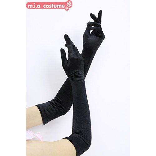 サテン手袋【黒】■ウェディング 花嫁 新婦 ブライダル フォーマル ブラック 肘上 ロンググローブ■