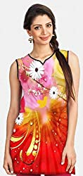 Snoogg Fantasy Flowers Background Printed Womens Casual Short Kurti