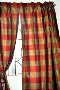 olive red beckford silk plaid curtain 52 w x 108 quo